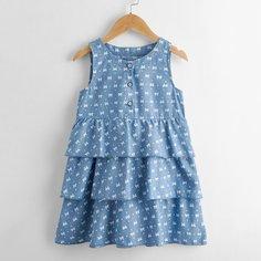 Джинсовое платье с принтом сердечка и банта для девочек Shein