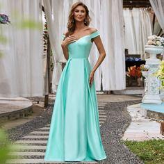Атласное вечернее платье с открытыми плечами Shein