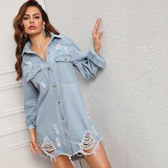 Рваное джинсовое платье-рубашка с необработанным низом Shein