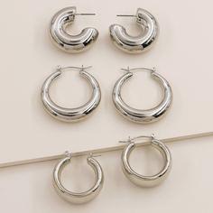 3pairs Простые геометрические серьги-кольца Shein