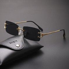 Мужские солнцезащитные очки без оправы с футляром Shein