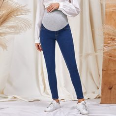 Карман Контрастный цвет Джинсовая одежда для беременных Shein