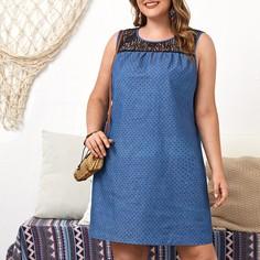 Джинсовое платье размера плюс с кружевной вставкой Shein