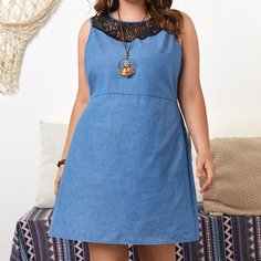 Контрастные кружева Контрастный цвет Повседневный Джинсовые платья размер плюс Shein