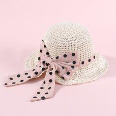 Соломенная шляпа с бантом в горошек для девочек Shein