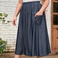 с карманами Одноцветный Повседневный Джинсовые юбки размер плюс Shein