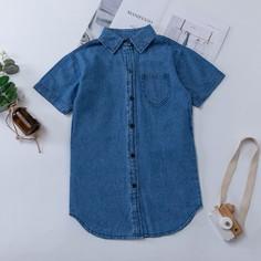 Джинсовое платье с карманом и пуговицами для девочек Shein