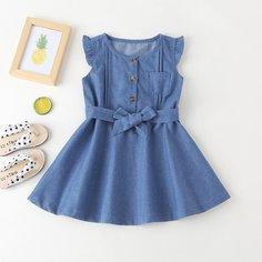 Джинсовое платье с поясом и оборкой для девочек Shein