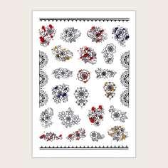 1 лист наклейка для ногтей с цветочным узором Shein