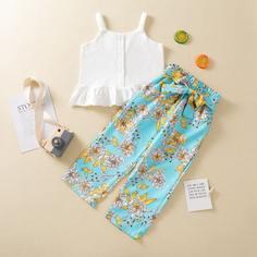 Топ и цветочные брюки с поясом для девочек Shein