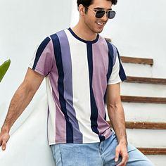Мужская футболка с короткими рукавами и цветными блоками Shein