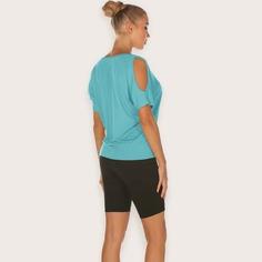 спортивная футболка с открытыми плечами Shein