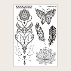 Стикер татуировки с цветочным рисунком и бабочкой 1 лист Shein