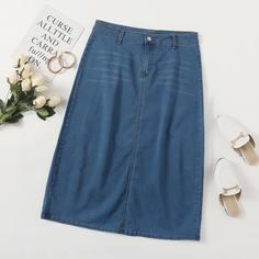 на молнии Одноцветный Джинсовые юбки размер плюс Shein