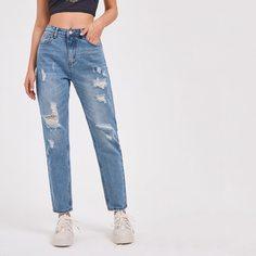 Рваные джинсы с карманом Shein