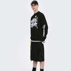 Мужской пуловер с текстовым и мультипликационным принтом Shein