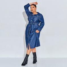 Джинсовое платье на пуговицах с поясом размера плюс Shein