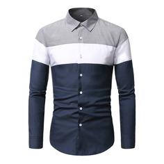 Мужская контрастная рубашка на пуговицах Shein