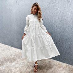 Однотонное платье на пуговицах без пояса Shein