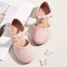 Туфли на плоской подошве из искусственного жемчуга для девочек Shein