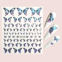 Наклейка для дизайна ногтей с рисунком бабочки 1шт Shein