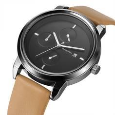 Мужские кварцевые часы с тройным циферблатом и датой Shein