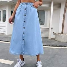 с карманами Одноцветный Джинсовые юбки Shein