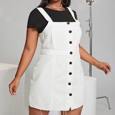 Необработанный низ Одноцветный Институтский Джинсовые платья размер плюс Shein