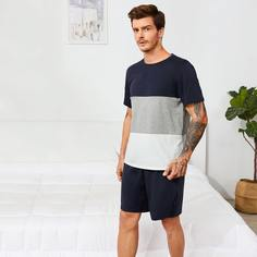 многоцветный Контрастный цвет Повседневный Мужская домашняя одежда Shein