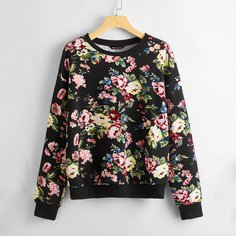 Пуловер размера плюс с цветочным принтом Shein
