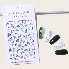 1 лист наклейка для ногтей с узором листьев Shein