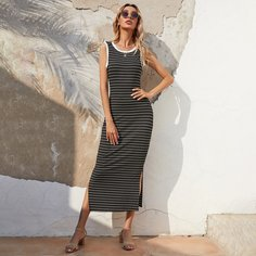 Контрастная отделка Полосатый Повседневный Платье Shein
