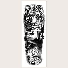 1 лист тату-наклейка с узором тигра Shein