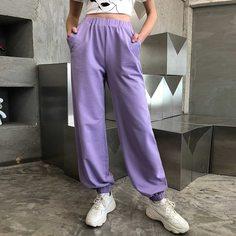Однотонные спортивные брюки с высокой талией Shein