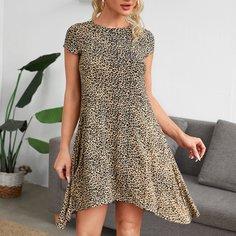 Асимметричнаое платье с леопардовым принтом Shein