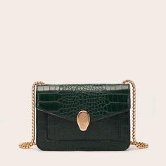 Квадратная сумка с тиснением под кожу крокодила и металлическим декором Shein