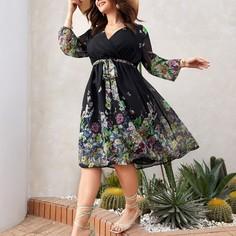Платье размера плюс с цветочным принтом и поясом Shein