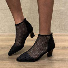 Минималистичные сетчатые ботинки на массивном каблуке Shein