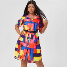 Пуговица Геометрический Повседневный Платья размер плюс Shein