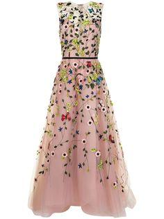 Monique Lhuillier вечернее платье из тюля с цветочным декором