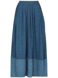 Chloé джинсовая юбка миди со складками