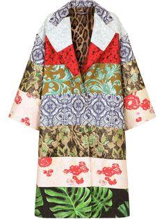 Dolce & Gabbana однобортное пальто в технике пэчворк