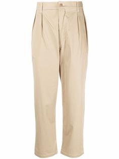 Maison Kitsuné укороченные зауженные брюки со складками
