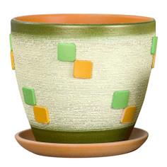 Горшок керамический Колорит Квадрат зелёный крокус d17.5см