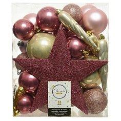 Набор пластиковых елочных шаров и украшений НОВОГОДНИЙ, цвета: розовый бархат, нежно-розовый, перламутровый, упаковка 33 Kaemingk