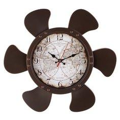 Часы настенные кварцевые Lefard Карта мира 220-443 коричневый