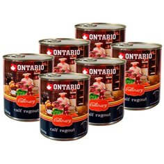 Влажный корм для собак Ontario Culinary, телятина, утка 6 шт. х 800 г