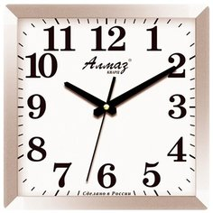 Часы настенные кварцевые Алмаз K19 серый/белый