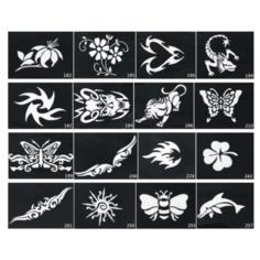 Набор боди-арт: 12 тату трафаретов (цветы) + 4 цвета неоновых блесток синий/зеленый/розовый/сиреневый Beauty Concept