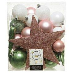 Набор пластиковых елочных шаров и украшений НОВОГОДНИЙ, цвета: белый, нежно-розовый, зелёный шалфей, упаковка 33 шт, Kae Kaemingk